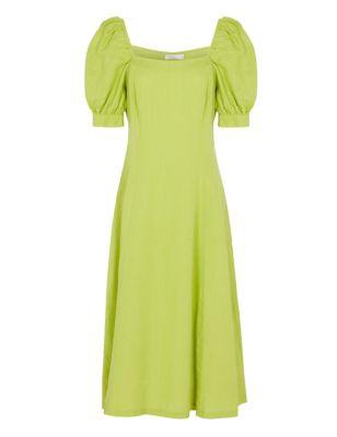 Pure Linen Square Neck Midi Shift Dress