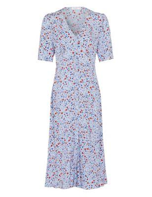 Floral V-Neck Short Sleeve Tea Dress