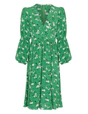 Floral V-Neck Long Sleeve Waisted Dress