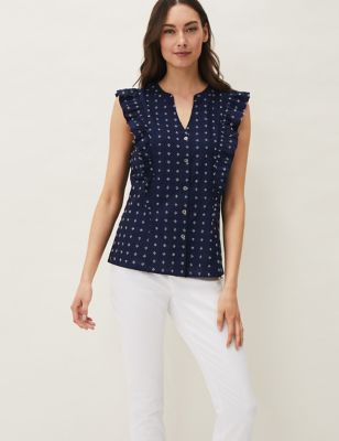 Cotton Ditsy Floral Frill Detail Blouse