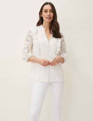 Pure Cotton Broderie ¾ Sleeve Blouse