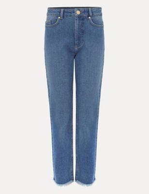 Raw Hem Straight Leg Cropped Jeans