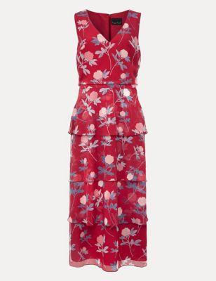 Floral V-Neck Midi Tiered Dress