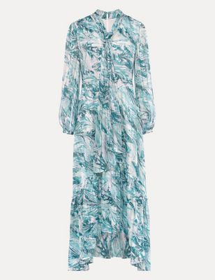 Printed V-Neck Tie Detail Maxi Tea Dress