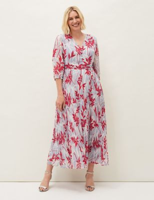 Printed Pleated V-Neck Maxi Tea Dress