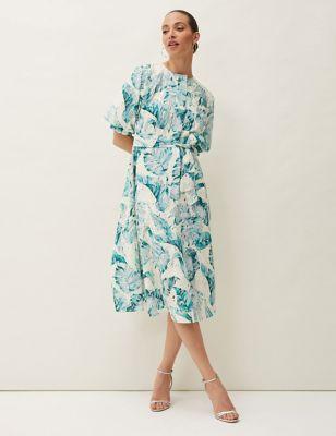 Pure Cotton Leaf Print Midi Skater Dress