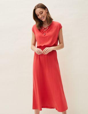 Tie Neck Shirred Midaxi Waisted Dress