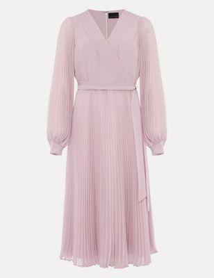 V-Neck Pleated Midi Dress