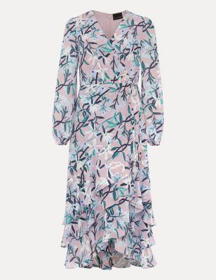 Floral V-Neck Frill Detail Midaxi Dress