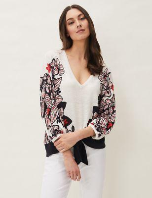 Linen Floral V-Neck Jumper