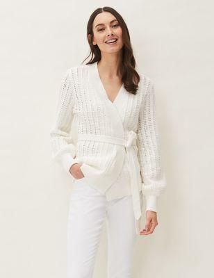 Pure Cotton Textured V-Neck Wrap Cardigan
