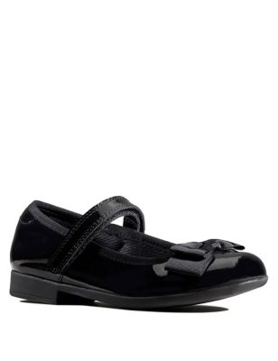 Kids' Leather Riptape Bow Mary Jane Shoes (Kid size 10-2.5)