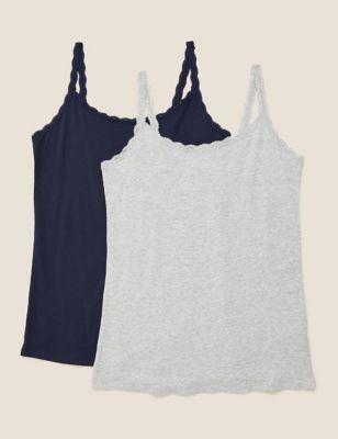 2pk Cotton Lace Trim Vest