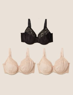 3pk Lace Trim Underwired Full Cup Bras F-H