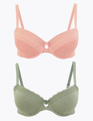 MARKS AND SPENCER 2 PACK LULU LACE NON PADDED BALCONY BRAS SIZE 34B