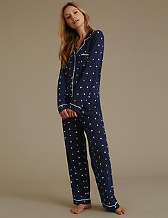 60ddb3d70e5e Daisy Print Revere Collar Pyjamas