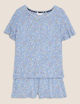 Frill Sleeve Floral Print Short Pyjama Set