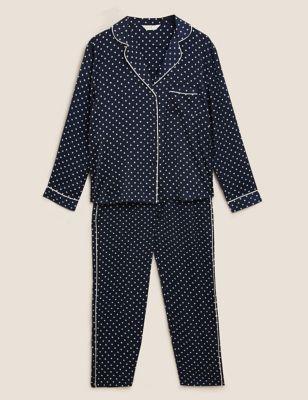 Satin Polka Dot Revere Pyjama Set