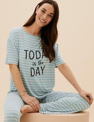 Slogan and Stripe Pyjama Set