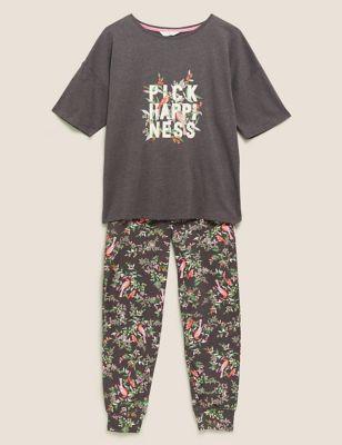 Cotton Pick Happiness Slogan Pyjama Set