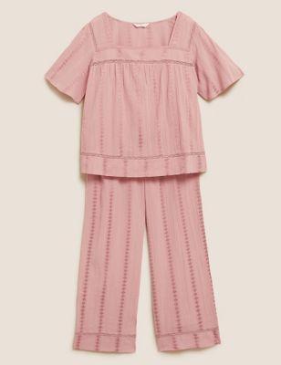 Cotton Lace Insert Pyjama Set