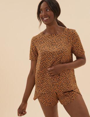 Satin Cheetah Print Short Pyjama Set
