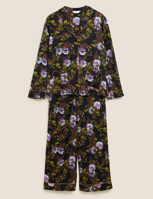 Satin Floral Revere Collar Pyjama Set