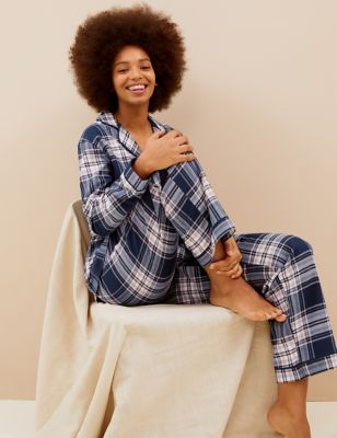 Cotton Checked Rever Collar Pyjama Set
