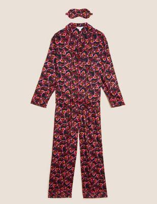 Viscose Rever Pyjama Set with Eye Mask