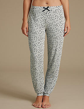 Star Print Glitter Cuffed Hem Pyjama Bottoms, GREY MIX, catlanding
