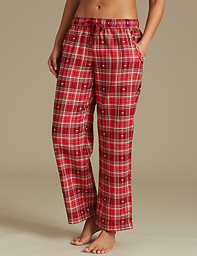 Cotton Rich Checked Straight Leg Pyjama Bottoms, RED MIX, catlanding