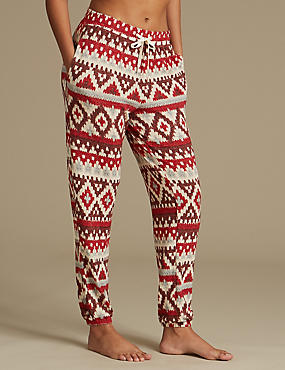 Fairisle Print Cuffed Hem Pyjama Bottoms, OATMEAL MIX, catlanding
