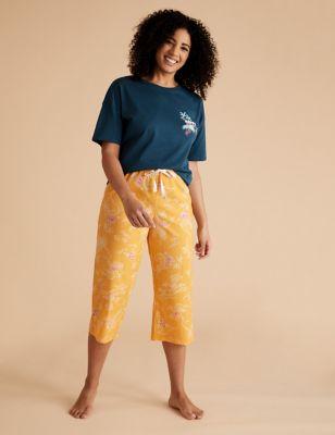 Pure Cotton Tropical Cropped Pyjama Pant