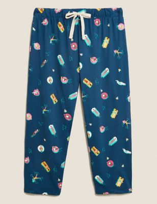 Pure Cotton Pool Print Cropped Pant