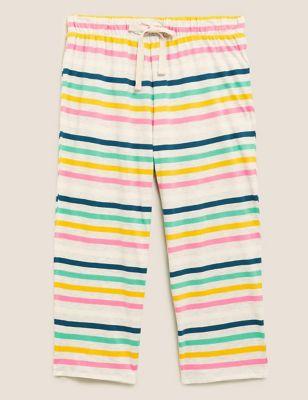 Cotton Striped Cropped Pyjama Pant