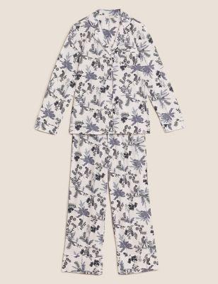Cotton Modal Revere Collar Floral Pyjama Set