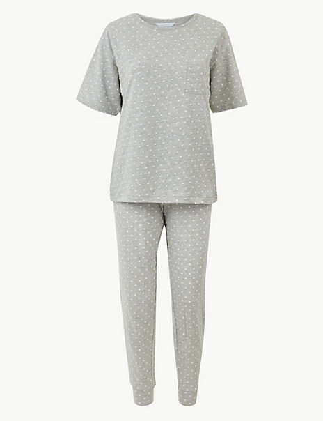 Textured Dot Cuffed Hem Pyjama Set