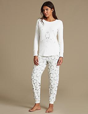 Cotton Rich Penguin Print Pyjamas, OATMEAL MIX, catlanding