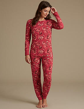 Cotton Rich Floral Print Pyjamas , BURGUNDY MIX, catlanding
