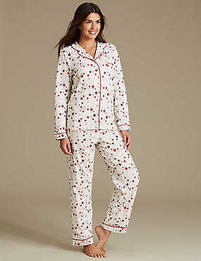 Cotton Rich Star Print Long Sleeve Pyjamas, OATMEAL MIX, catlanding