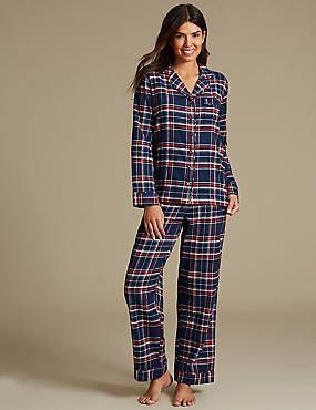 Cotton Rich Checked Pyjamas, NAVY MIX, catlanding