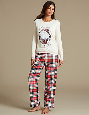 Tatty Teddy™ Checked Long Sleeve Pyjamas, RED MIX, catlanding