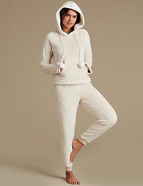 Fleece Hooded Long Sleeve Pyjamas, OATMEAL MIX, catlanding
