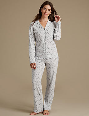 Feather Print Pyjamas with Cool Comfort™ Technology, GREY MIX, catlanding