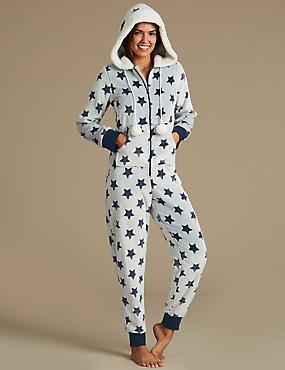 Fleece Star Print Onesie, BLUE MIX, catlanding