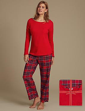 Pure Cotton Checked Long Sleeve Pyjamas, RED MIX, catlanding