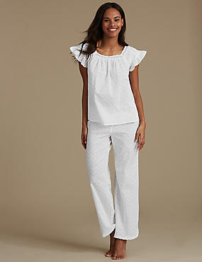 Pure Cotton Textured Short Sleeve Pyjamas, WHITE, catlanding