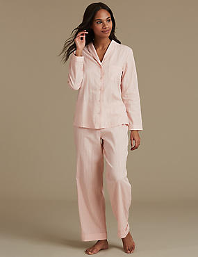 Pure Cotton Textured Long Sleeve Pyjamas, PINK, catlanding