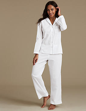 Pure Cotton Textured Long Sleeve Pyjamas, WHITE MIX, catlanding