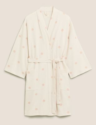 Pure Cotton Waffle Short Dressing Gown